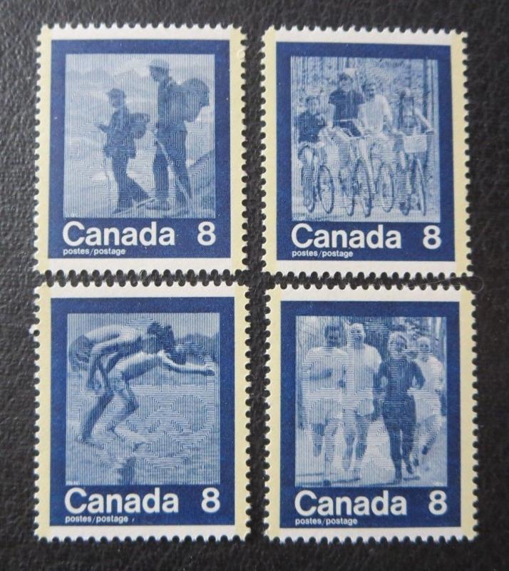 CANADA Sc#629-632 1974 KEEP FIT-SUMMER SPORTS MNH