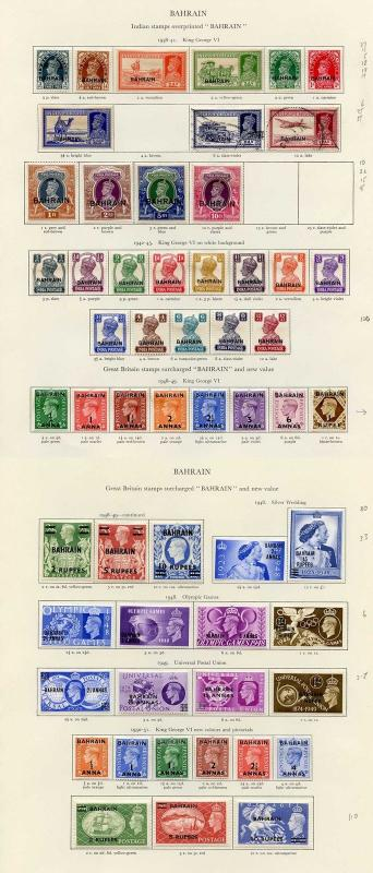 Collection of Bahrain KGVI on leaves cat 697.75 pounds