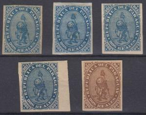 PARAGUAY 1870 LION Sc 2 GROUP OF 5 LANGE REPRINTS IN ISSUED & UNISSUED COLORS