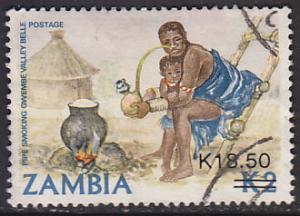 Zambia 504 Hinged Used 1989 Woman Smoking Pipe O/P