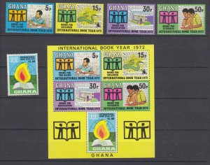 Z3927, 1972 ghana mnh set + s/s #445-9a book year