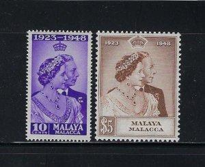 MALAYA MALACCA  SCOTT#1-2 1948 GEORGE VI SILVER WEDDING MINT LH