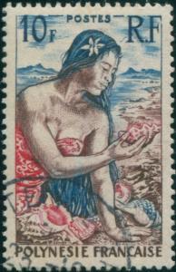 French Polynesia 1958 Sc#189,SG9 10f Polynesian Girl on beach FU
