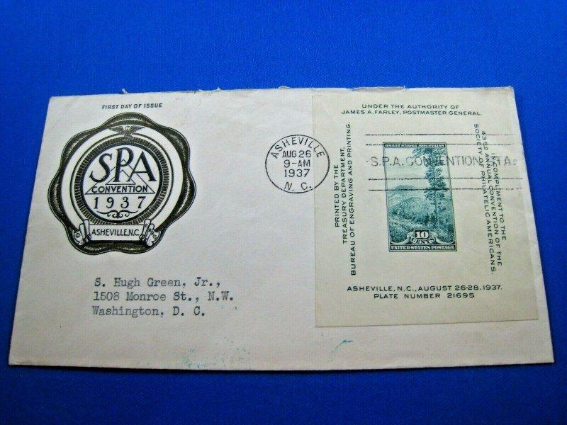 UNITED STATES  -  SCOTT # 797 - 1937 SPA CONVENTION FDC