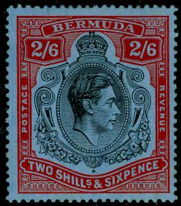 BERMUDA SG117, 2s 6d Black & Red/Grey-Blue, LH MINT. Cat £70. CHALKY