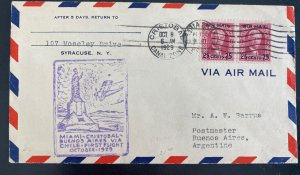 1929 Cristobal Canal Zone Panama First Flight Airmail cover To BA Argentina