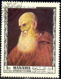 Painting, Le Bassa. Portrait De-Vieillard, Manama stamp