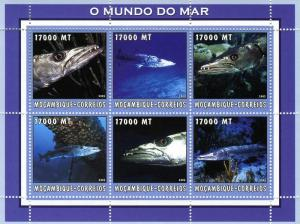 Mozambique 2002 Marine Life Fish Sheet (6) Perforated mnh.vf