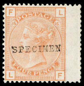 SG152, 4d vermilion PLATE 15, NH MINT. Cat £400+ 'SPECIMEN' LF