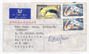 NIGERIA Cover *Ebute Metta* GB Bury REGISTERED Air Mail BANKING 1971 BH188