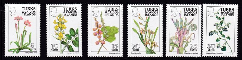 Turks & Caicos Islands 1990 Flowers complete (16) perf. 14  XF/NH(**)