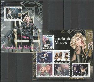 BC1178 2012 Mozambique Musique Stars Beyonce Madonna Metallica Shakira KB + Bl