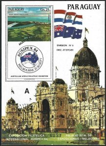 1984 Paraguay Buildings, Exhibitions, Ausipex, Sheet MUESTRA VF/MNH! LOOK!