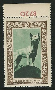 The Dingo or Wild Dog, Australia, 1938 Poster Stamp, Cinderella Label