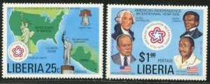 LIBERIA Sc#769-70 & C214 1976 American Bicentennial Set & SS Mint NH Complete