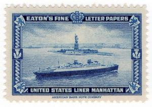(I.B) US Cinderella : Eaton's Fine Letter Papers (USA Liner Manhattan)