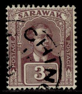 SARAWAK GV SG52, 3c brown-purple, FINE USED.