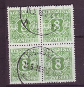 J16660 JLstamps 1914-5 denmark blk/4 used #p14 newspaper stamp