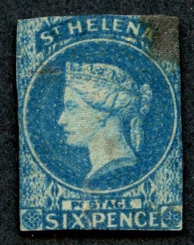 St. Helena, Sc# 1,Used.  Imperf. Wmk. 6 - issued 1856.  2017 SCV $225.00
