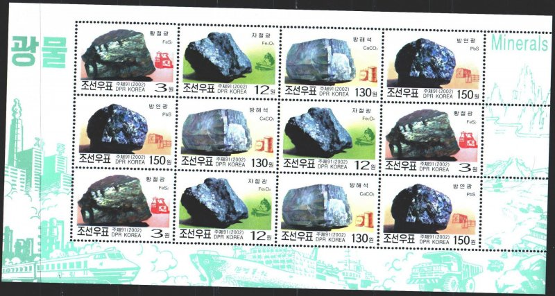 North Korea. 2002. ml 4591-94. Minerals. MNH.
