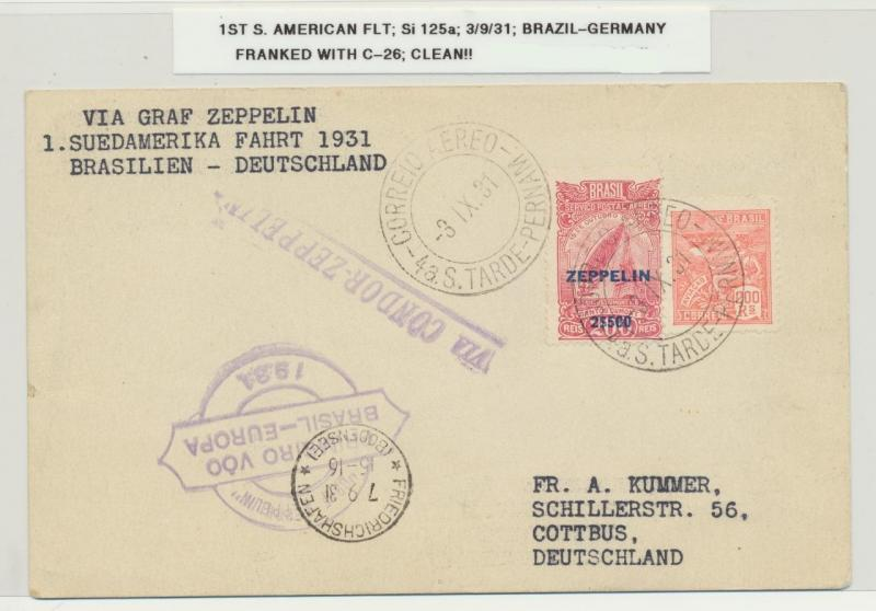 BRAZIL -GERMANY 1931 ZEPPELIN, 1st SOUTH AMERICAN FLIGHT, Si#125a Sc#C26