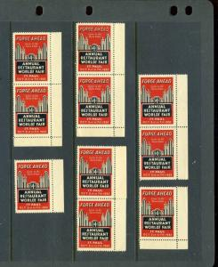 10 VINTAGE 1932 ANNUAL RESTAURANT WORLD'S FAIR POSTER STAMPS (L971) ST PAUL MN