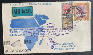 1931 halfa Sudan First Flight Airmail Cover To Athens Greece Via Egypt