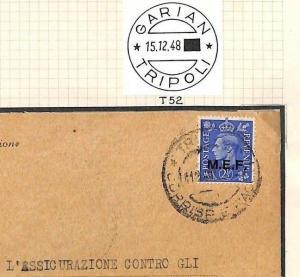 BOIC Cover 1948 LIBYA Tripoli Very Late OFFICIAL Use *MEF*Overprint Garian AG235