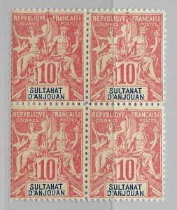 Anjouan 6 Navigation & Commerce Block of 4 FOURNIER FORGERY MNH FOR REFERENCE