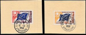 FRANCE 1958 Council of Europe (3) Used on Hard Card .Council Cancel Strasbourg