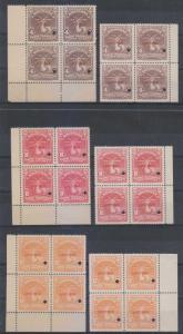 HONDURAS 1934 TELEGRAPH Yvert TT1B-3B SET SIX BLOCKSx4 TWO PRINTINGS SPECIMEN NH