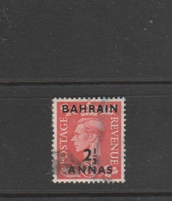 Bahrain 1950/55 2 1/2 A on 2 1/2d Pale RED Used SG 75