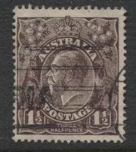 Australia - Scott 63 - KGV Head -1918 - FU - Wmk 11 - 1.1/2p Stamp1
