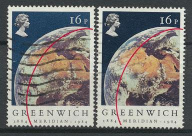 Great Britain SG 1254 - Used - pair with both sky shades - Greenwich Meridian