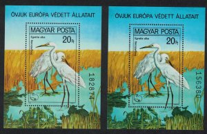 Hungary Great Egrets Protected Birds MS Pair Colour variety SG#MS3346 MI#Block