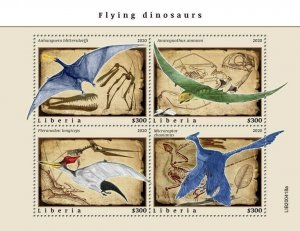 YEAR 2020/10- LIBERIA- FLYING DINOSAURS         4V complet set    MNH ** T