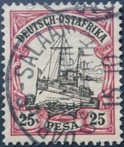 German East Africa 1901 Twenty Five Pesa with DAR ES SALAAM postmark