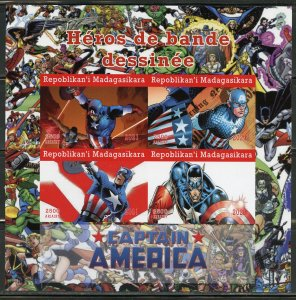 MADAGASCAR 2021 COMIC BOOK HEROES CAPTAIN AMERICA IMPERFORATE  SHEET MINT NH