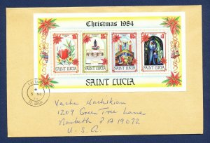 ST. LUCIA  # 705c - S/S  on cover to USA - Christmas 1984