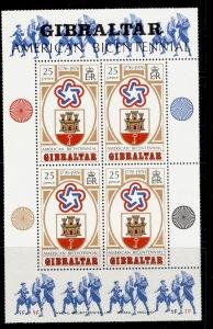 GIBRALTAR QEII SG MS362, 1976 American revolution mini sheet, NH MINT.