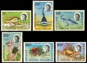 British Indian Ocean Territory -Sc #  16 - 18, 20 - 21 & 25 MLH  2017 SCV $12.30