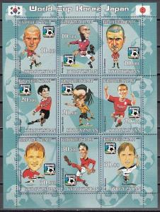 Kyrgyzstan, 2001 Cinderella issue. World Cup Soccer #1 sheet of 9.