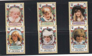 ANGUILLA (MM139) # 485-490 VF-MH VARc,$ 1982 PRINCESS DIANA STAMPS CAT VALUE $12