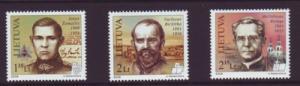 Lithuania Sc 884-6 2009 Famous Lithuanians stamp set mint NH