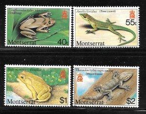 Montserrat 410-413: Frog, Toad, Anole, Gecko, MHR, VF