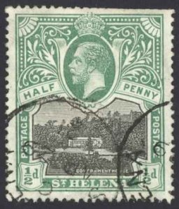 St. Helena Sc# 61 Used 1912-1916 ½p KGV Government House