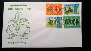 """RARE IRAQ 1967 """"SCOUTING"""" COVER 1ST DAY CANCELLED VERY FEW EXIST"""