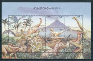 [107156] Liberia 1999 Prehistoric animals dinosaurs Sheet MNH