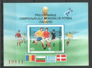 RM006 1990 ROMANIA SPORT FOOTBALL WORLD CUP ITALY 90 BL260 MICHEL 15 EURO MNH