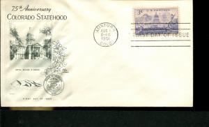 USA SC# 1001 Colorado Statehood 75th Anniv. FDC